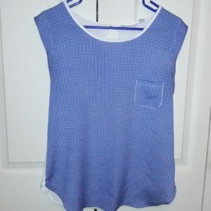 New York & Company Top Size Small Blue/White